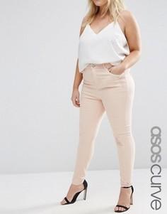 Розовые джинсы скинни с рваной отделкой и заплатками ASOS CURVE Ridley - Розовый