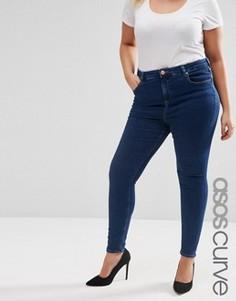 Выбеленные джинсы скинни цвета индиго ASOS CURVE Ridley - Синий