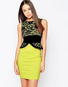 Платье-футляр с кружевным топом и баской Vesper Ronnie - Зеленый