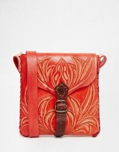Красная кожаная сумка через плечо ручной работы Hiptipico - Красный