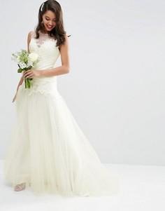 Платье макси с кружевным лифом и сетчатой юбкой ASOS BRIDAL - Белый