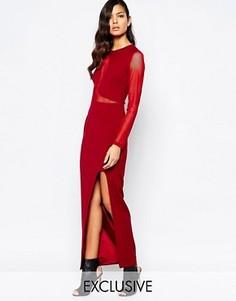 Платье макси с сетчатой вставкой и глубоким разрезом The 8th Sign - Красный