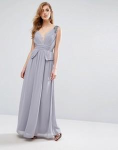 Шифоновое платье макси со складками и отделкой Little Mistress - Серый