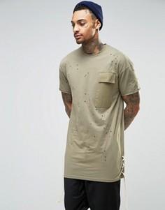 Длинная потертая футболка Granted - Зеленый