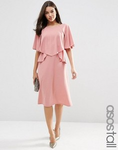 Пышное платье миди с рюшами ASOS TALL - Красный