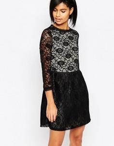 Кружевное платье с длинными рукавами Iska - Черный
