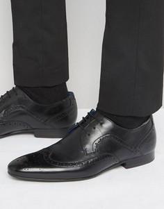Кожаные туфли дерби с декоративной перфорацией Ted Baker Oakke - Черный