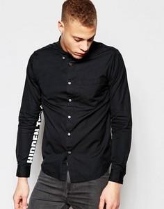 Рубашка классического кроя с принтом на рукавах Izzue - Черный