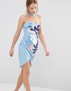 Платье-бандо с цветочным принтом и чокером Ginger Fizz - Мульти