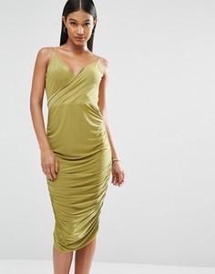Платье миди с запахом спереди и драпировкой на спинке Club L - Зеленый
