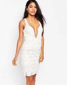 Кружевное платье миди с глубоким декольте Love Triangle - Белый
