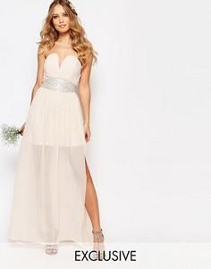 Платье макси с декорированной талией и складками TFNC WEDDING - Розовый