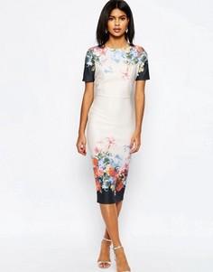 Платье-футболка миди с принтом по краю ASOS - Мульти