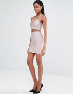Бандажная юбка в рубчик Missguided - Фиолетовый
