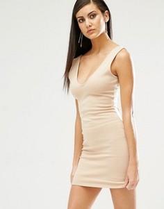 Облегающее платье мини с глубоким вырезом Missguided - Бежевый