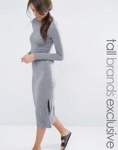 Удлиненное трикотажное платье с разрезами по бокам One Day Tall - Серый