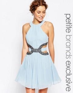 Приталенное платье мини с высоким воротом, отделкой и вырезами Little Mistress Petite - Синий