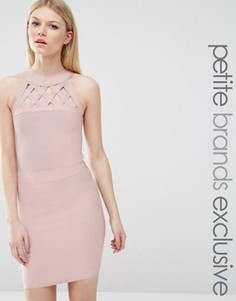 Бандажное платье с решеткой из лямок True Decadence Petite - Розовый