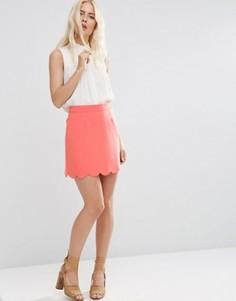 Мини юбка‑трапеция с фигурным краем ASOS - Оранжевый