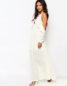 Платье макси с открытыми плечами и шнуровкой Boohoo - Кремовый