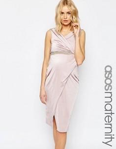 Платье с запахом и декоративной отделкой пояса ASOS Maternity - Бежевый