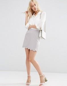 Мини юбка‑трапеция с фигурным краем ASOS - Серый