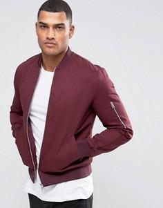 Бордовая куртка‑пилот с молнией на рукавах ASOS - Красный