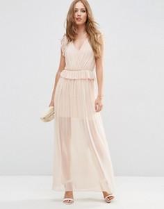 Сетчатое вечернее платье макси с оборкой ASOS - Розовый