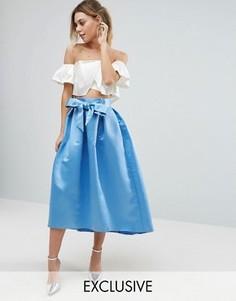 Атласная юбка миди с бантом спереди Closet - Синий
