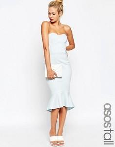 Платье-бандо миди с воланом по низу ASOS TALL - Синий