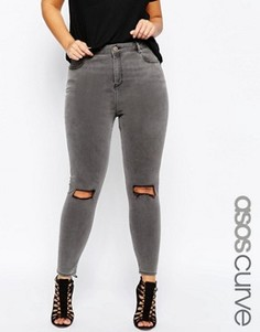 Серые джинсы скинни с декоративными прорехами ASOS CURVE Ridley - Серый
