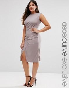 Платье миди для беременных с драпировкой ASOS CURVE - Розовый