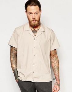 Рубашка классического кроя с отложным воротником и эластичной кромкой ASOS - Коричневый