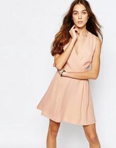 Платье с запахом и однотонным цветочным принтом Jack Wills - Розовый