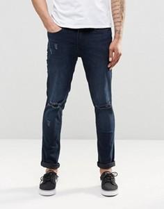 Синие джинсы слим с рваной отделкой Kubban - Синий