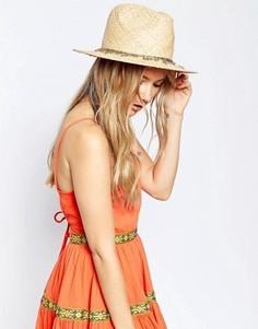 Соломенная шляпа-федора с отделкой в стиле вестерн ASOS - Коричневый