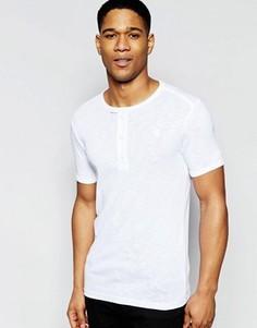 Белая футболка с тканевой планкой на пуговицах G-Star Ramic - Белый