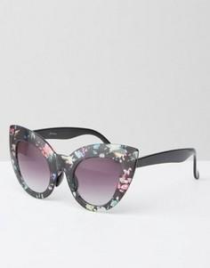 Солнцезащитные oversize-очки в кошачьей оправе с цветочным принтом Jeepers Peepers - Мульти