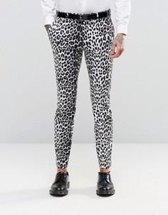 Супероблегающие строгие брюки с леопардовым принтом Religion - Серый