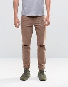 Коричневые джинсы скинни с рваными коленями ASOS - Коричневый