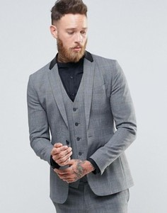 Супероблегающий пиджак с клетку с искусственной кожей на воротнике сзади Religion - Черный
