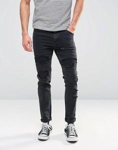 Черные рваные джинсы скинни ASOS - Черный