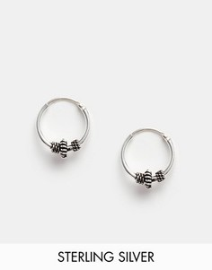 Серебряные серьги-кольца 10 мм с отделкой Kingsley Ryan - Серебряный