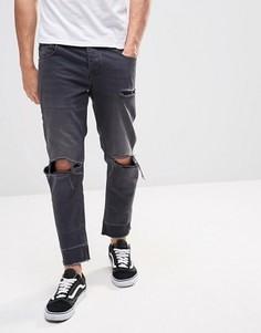 Укороченные джинсы слим с рваными коленями и необработанными краями ASOS - Черный