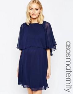 Короткое приталенное платье для беременных с накидкой ASOS Maternity - Синий