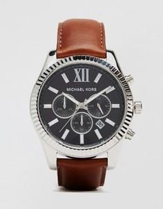 Часы с хронографом и коричневым ремешком Michael Kors Lexington MK8456 - Коричневый
