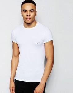 Облегающая хлопковая футболка с круглым вырезом Emporio Armani - Белый