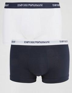 2 хлопковых боксеров‑брифов стретч Emporio Armani - Белый