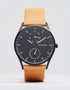 Кварцевые часы 40 мм с коричневым кожаным ремешком Skagen Holst - Рыжий