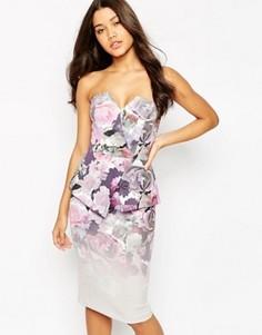Платье миди в стиле бандо с цветочным принтом ASOS Premium - Мульти